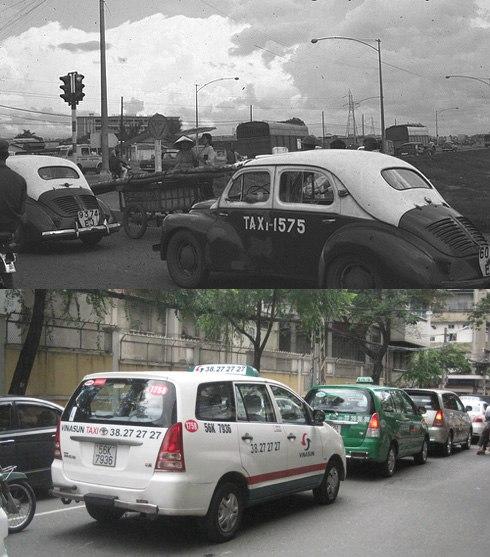 Là phương tiện vận chuyển tiện lợi, taxi bắt đầu xuất hiện ở Sài Gòn - Chợ Lớn vào khoảng cuối những năm 40 và thịnh hành những năm 50 của thế kỷ 20. Trong ảnh là chiếc taxi năm 1970 (ảnh trên) và hiện nay (ảnh dưới).