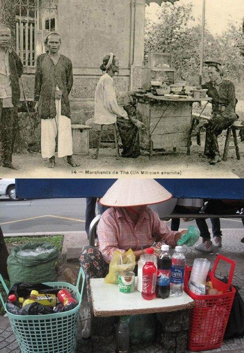 Sài Gòn xưa có hàng nước, quán cóc bán trà đá, trà chanh…thì trên phố Sài thành hiện nay cũng phổ biến gánh hàng, bàn giải khát với đủ loại nước có ga, nước chanh, sâm lạnh, nước dừa...