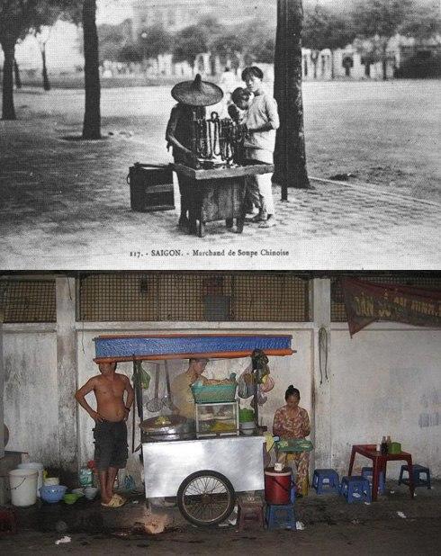 """Hình ảnh chiếc xe đẩy bán hủ tíu dạo gắn liền với văn hóa ẩm thực Sài Gòn hơn 100 năm nay. Những chiếc xe bán hủ tíu đến nay gần như vẫn còn giữ nguyên cách buôn bán lề đường, đặc biệt là là tiếng gõ """"lách cách"""" đặc trưng. Ngày nay vẫn còn những tiệm bán hủ tíu trên 50 năm tuổi như các tiệm của người Hoa ở khu Chợ Lớn, trên đường Triệu Quang Phục (quận 5), đường Gia Phú (quận 6),..."""
