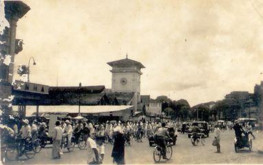 Cảnh chợ Bến Thành trước 1945. Ảnh internet.