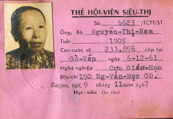 Thẻ Hội viên Siêu thị của bà Nguyễn Thị Nam, một giáo chức ở Gia Định. Ảnh là tư liệu gia dình bà Nguyễn Thị Nam