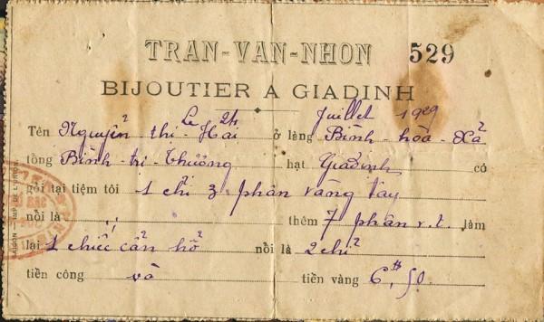 Biên nhận gia công nữ trang năm 1929 tại Gia Định - Tư liệu gia đình bà Nguyễn Thị Nam,
