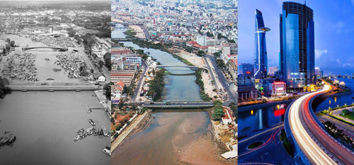Khánh Hội từ thời là cầu quay đến cầu bêtông và hiện nay. Ảnh: Panoramio