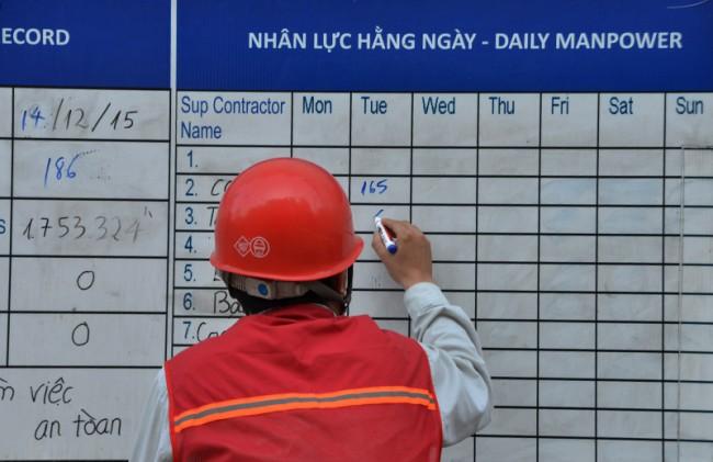 Số lượng công nhân thi công đều được cập nhật hàng ngày