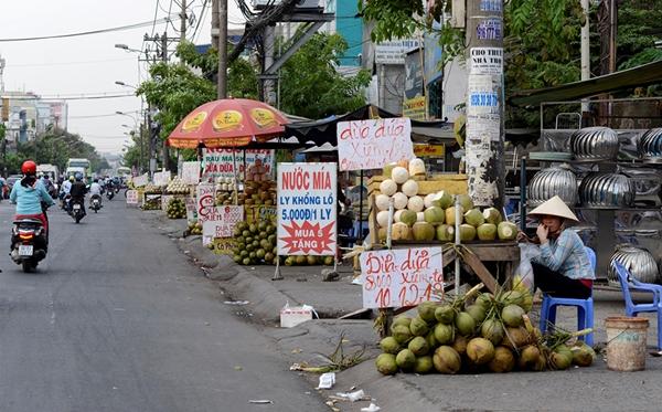 Đoạn đường Quốc lộ 13 qua địa bàn Q. Bình Thạnh với những xe bán dừa tràn ra sát đường - Ảnh: Duyên Phan.