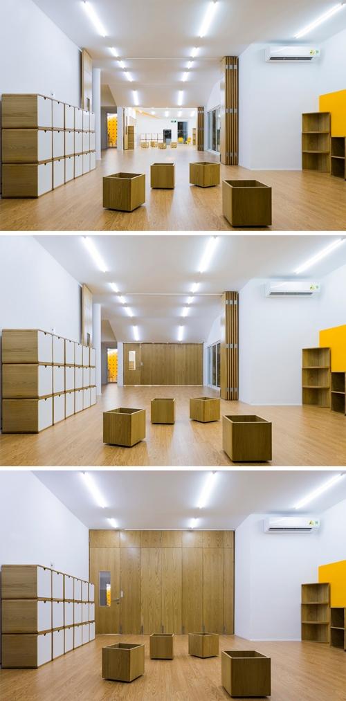 Ngoài ra, các tổ hợp phòng nhỏ có thể linh hoạt chuyển đổi chức năng, mở rộng hay thu hẹp khi cần thiết. Giải pháp này giúp tạo ra những không gian ngộ nghĩnh, kích thích sự tò mò, tưởng tượng của trẻ thơ…