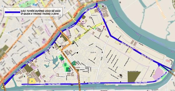 Các đường UCCI sẽ đào ở quận 4 trong tháng 3-2016 - Đồ họa: T.Thiên.