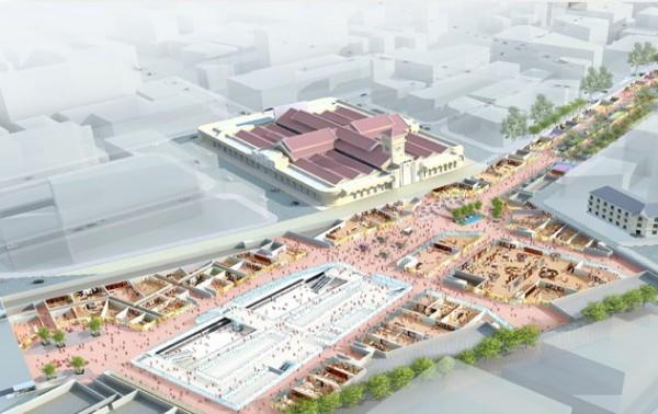 phối cảnh nhà ga chợ Bến Thành. Phần khu vực nhà ga gồm 3 tầng kết nối với 4 tuyến Metro trong tương lai và phần thương mại mua sắm bao quanh. - Ảnh: BQLD
