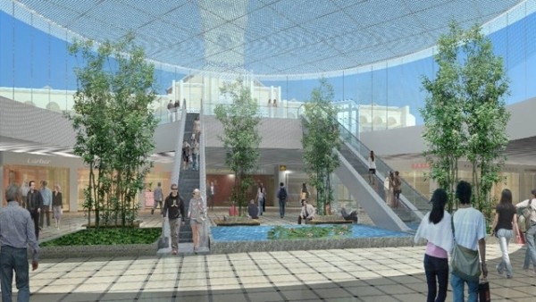 Nhà ga này có các trung tâm thương mại, khu mua sắm. Phần đỉnh chợ Bến Thành có thể nhìn thấy rõ từ phía dưới lòng đất nhà ga - Ảnh: BQLDA