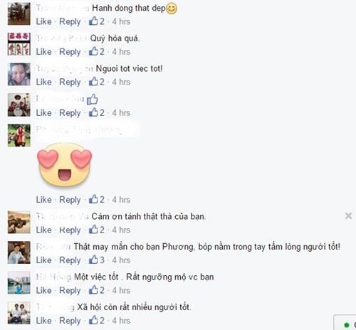 Nhiều lượt chia sẻ và bình luận về tấm lòng của người Sài Gòn trên mạng xã hội - Ảnh: chụp màn hình
