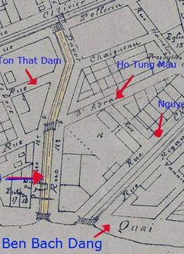 Kênh Rạch Cầu Sấu (Đường màu vàng) là đường Hàm Nghi ngày nay.