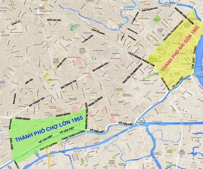 Quy hoạch Sài Gòn - Chợ Lớn năm 1865 trên bản đồ hiện nay. Riêng khu vực Sài Gòn (màu vàng) rộng khoảng 3km2. Hầu hết những dinh thự, tòa nhà công sở xưa thời thuộc Pháp nằm trong khu vực này. Đồ họa: TRỊ THIÊN