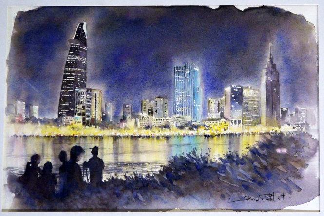Cao ốc nơi trung tâm thành phố về đêm
