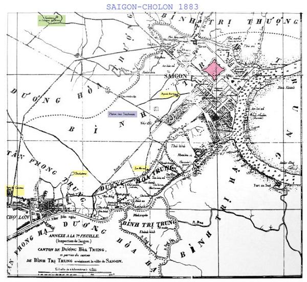 Bản đồ do người Pháp vẽ 1883, hình dáng thành Gia Định vẫn còn (màu hồng trong hình) - Ảnh tư liệu