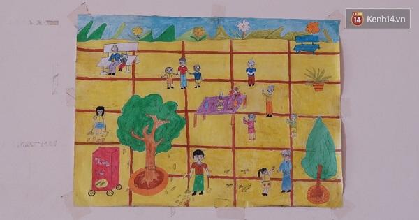Một bức tranh mà các em nhỏ đã vẽ tặng các cụ.