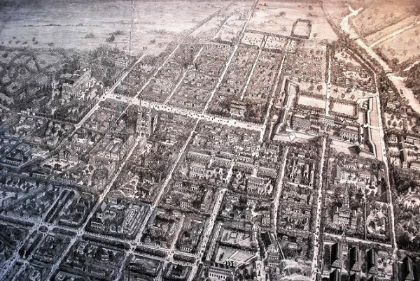 Những tòa nhà mới đã được xây dựng bên trong khuôn viên thành Gia Định, hình thành một ngôi thành khác (góc phải trên cao của hình vẽ) - Tranh vẽ 3D của của Đại úy hải quân Pháp Favre - Tranh tư liệu