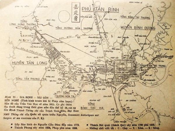 So sánh với hình dáng hình dáng thành Gia Định (góc phải ảnh phía trên) do Trần Văn Học vẽ năm 1815. Nguyễn Đình đầu chú giải - Ảnh tư liệu