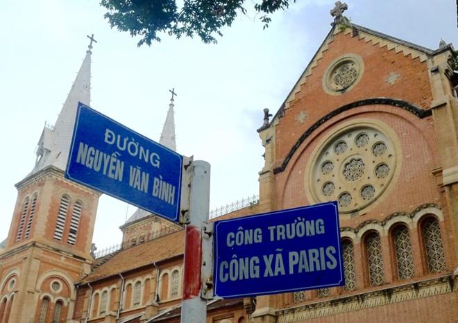 Đường sách Sài Gòn ngày nay mang tên Tổng giám mục Thiên chúa giáo giáo phận Sài Gòn Nguyễn Văn Bình. Ảnh: Hà Hương.