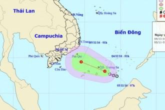Sơ đồ dự báo áp thấp nhiệt đới - Ảnh: Trung tâm Dự báo khí tượng thủy văn Trung ương