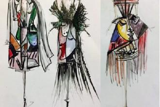 """Bản vẽ tay hai thiết kế theo trường phái ấn tượng trong BST """"Coffee is not just black"""" của Hoàng Minh Hà"""