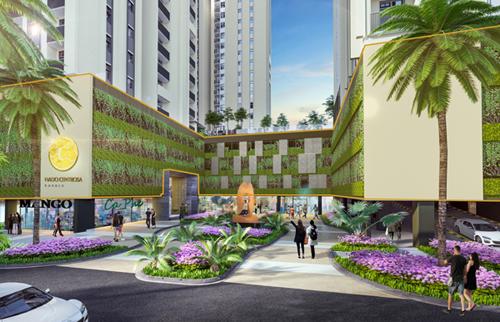 Mảng xanh phủ kín 3 tầng bãi xe mang đến không gian sinh thái cho dự án.