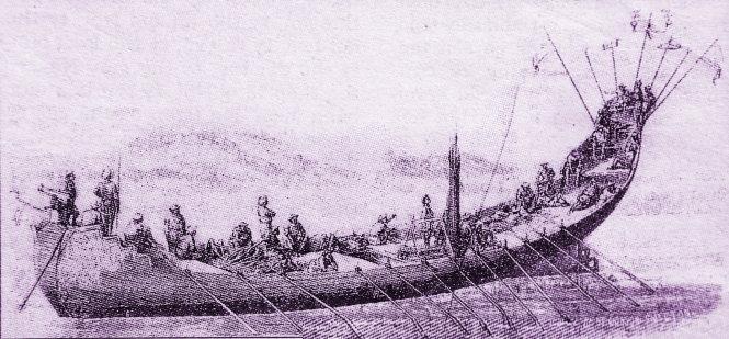 """Thuyền chiến của triều Nguyễn trên sông Sài Gòn thế kỷ 18, tranh vẽ của người Pháp. Thời kỳ này, giao thông đường bộ Bắc Nam còn hiểm trở, cho nên giao thông đường thủy là chính. Tư liệu cho thấy cả triều Tây Sơn và Nguyễn Ánh đều có lực lượng thủy binh hùng mạnh, tiếp thu kỹ thuật đóng thuyền phương Tây. Những trận thủy chiến giữa quân Tây Sơn và quân Nguyễn Ánh trên đầm Thị Nại (Quy Nhơn) đáng được xem là những trận thủy chiến ác liệt nhất của lịch sử. Hằng năm, cứ khi trời trở gió nồm thì thủy binh Nguyễn Ánh từ Gia Định lại dong buồm ra miền Trung đánh quân Tây Sơn, đến khi gió bấc thì lại rút quân về. Dân gian có câu: """"Lạy trời cho cả gió nồm/Để cho chúa Nguyễn kéo buồm thẳng ra""""."""