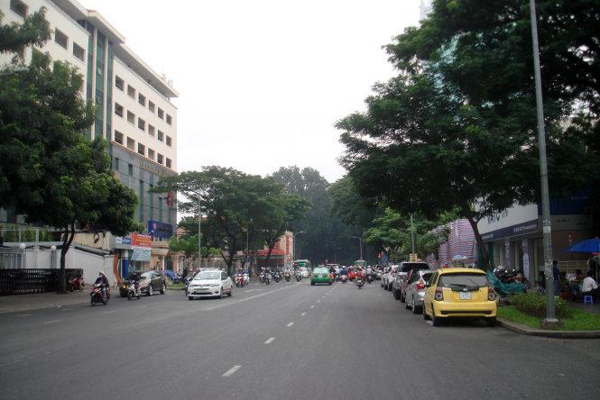 Khung trời đại học thứ hai ở Sài Gòn sáng 4-11. Bên trái là khuôn viên ĐH KHXH&NV, bên phải, qua lớp bạt che là khuôn viên khoa dược ĐH Y dược TP.HCM. Hàng cổ thụ giữa ảnh là đường Tôn Đức Thắng - Ảnh: M.C.