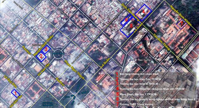 Hai khung trời đại học của Sài Gòn trên bản đồ hiện nay với các vị trí (1: khuôn viên đầu tiên của ĐH Văn khoa; 2: ĐH Kiến trúc, 3: Đại học Luật (nay là khuôn viên ĐH Kinh tế TP.HCM) ở khung trời đầu tiên và vị trí các trường ở khung trời thứ hai (4, 5, 6: Cao đẳng Nông lâm súc, nay là Trường Cán bộ quản lý nông nghiệp và phát triển nông thôn II) - Đồ họa: Trị Thiên