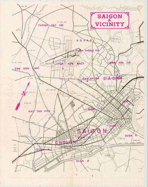 Bản đồ Sài Gòn và vùng phụ cận vào thập niên 60.