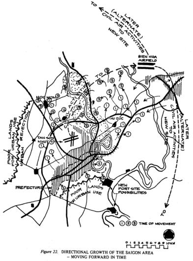 Nghiên cứu các hướng phát triển của Sài Gòn theo trình tự thời gian trong hồ sơ của Bogle (c).