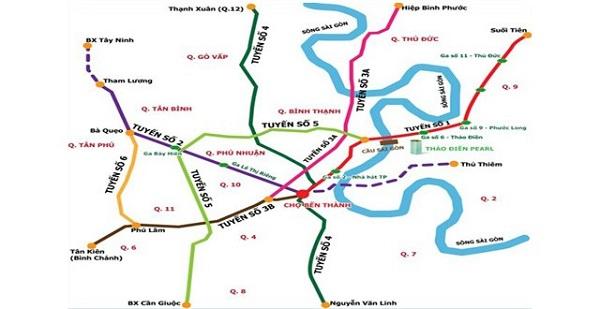 Sơ đồ các tuyến metro theo quy hoạch của TP.HCM. Ảnh: MAUR.
