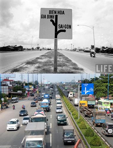Xa lộ Biên Hòa xưa và xa lộ Hà Nội nay. Ảnh: Life