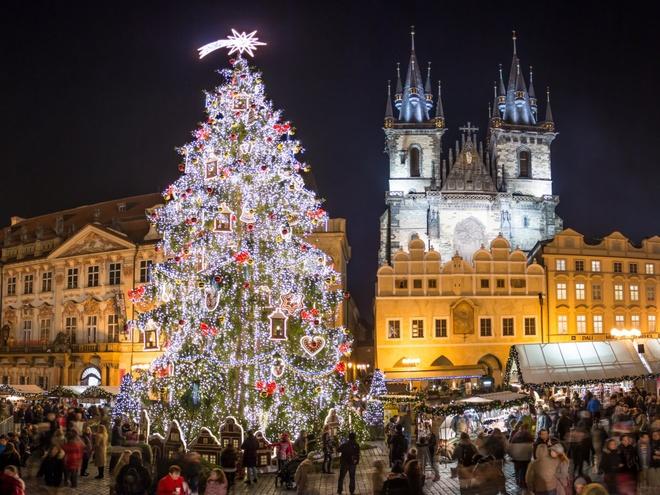 Prague, CH Czech  Năm nay, quảng trường Old Town của thủ đô Prague bừng sáng hơn các dịp lễ khác nhờ có cây thông Noel siêu lớn mua từ Pecka, một thị trấn nằm ở phía đông bắc Prague.