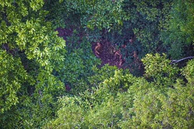 Các thành viên bộ lạc theo dõi chiếc trực thăng - Ảnh: Ricardo Stuckert