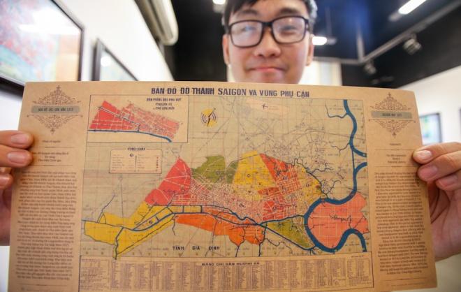 Tấm bản đồ mới nhất trong triển lãm là Sài Gòn và các vùng phụ cận năm 1973. Khi ấy, vùng Thủ Thiêm là quận 9, còn quận 7 ở khu vực Bình Tân, quận 6 ngày nay. Cả thành phố có 11 quận, các vùng Thủ Đức, Phú Nhuận, Gò Vấp, Tân Bình... thuộc địa phận tỉnh Gia Định.