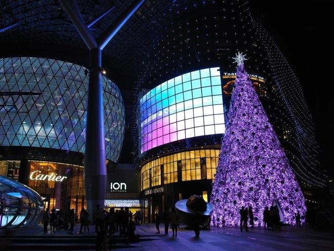 """Orchard Road, Singapore Singapore không có tuyết nhưng đảo quốc này vào kỳ Giáng sinh dường như cũng biến thành """"vùng đất thần tiên"""". Tuyến đường trung tâm Orchard Road dịp này rực rỡ hơn bao giờ hết với cây thông khổng lồ treo đầy đèn màu nhấp nháy."""