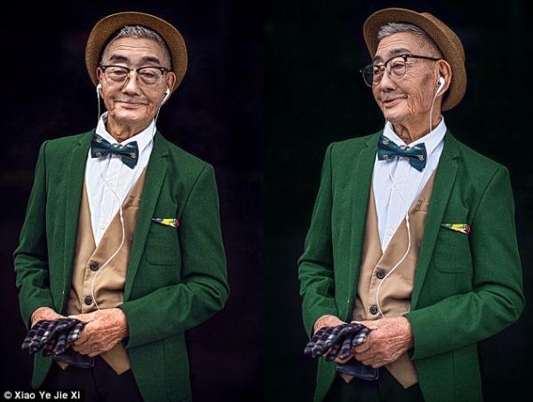 Ding Guoliang lựa chọn cho ông của mình những trang phục với màu sắc tươi sáng, kết hợp cùng những phụ kiện vô cùng trẻ trung như mắt kính, mũ và tai nghe
