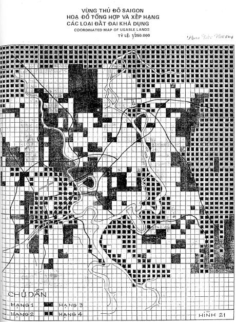 Bản đồ tổng hợp tính phù hợp của đất đai cho phát triển đô thị trong đồ án quy hoạch vùng Sài Gòn năm 1974 (e).