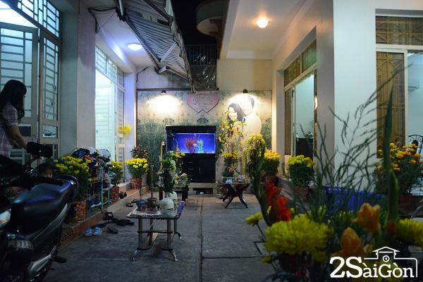 Ánh đèn phản chiếu sắc màu của hoa, tạo nên một không gian đèn hoa lung linh rực rỡ.