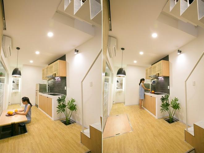 Không vì diện tích hạn hẹp mà ngôi nhà 3 tầng thiếu đi những tiện ích trong sinh hoạt. Bếp ăn gọn gàng nhờ chiếc bàn được cất gọn khi không sử dụng. Trong nhà còn bố trí xen kẽ những khoảng cây xanh - niềm yêu thích của cả chủ nhà và kiến trúc sư.