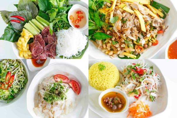 Đến các món phương Bắc đậm đà và hấp dẫn như : Gỏi bắp bò muối, tré trộn xoài… cùng các món Bún sứa Nha Trang, cơm gà Hội An, những món ăn mang âm hưởng của miền Trung.