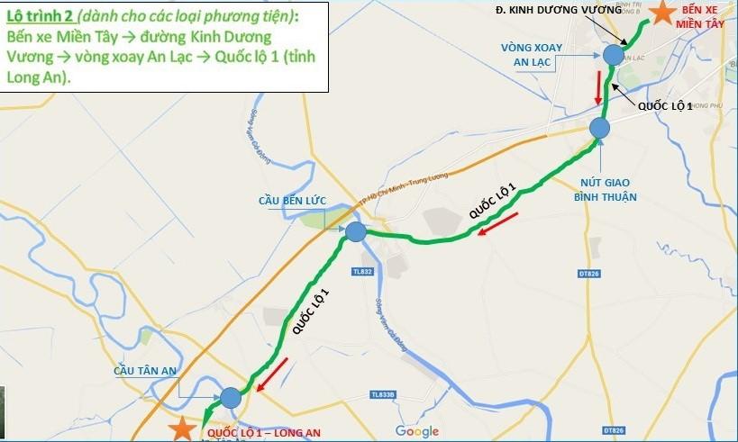 Từ bến xe miền Tây - đường Kinh Dương Vương - vòng xoay An Lạc - quốc lộ 1 (Long An).