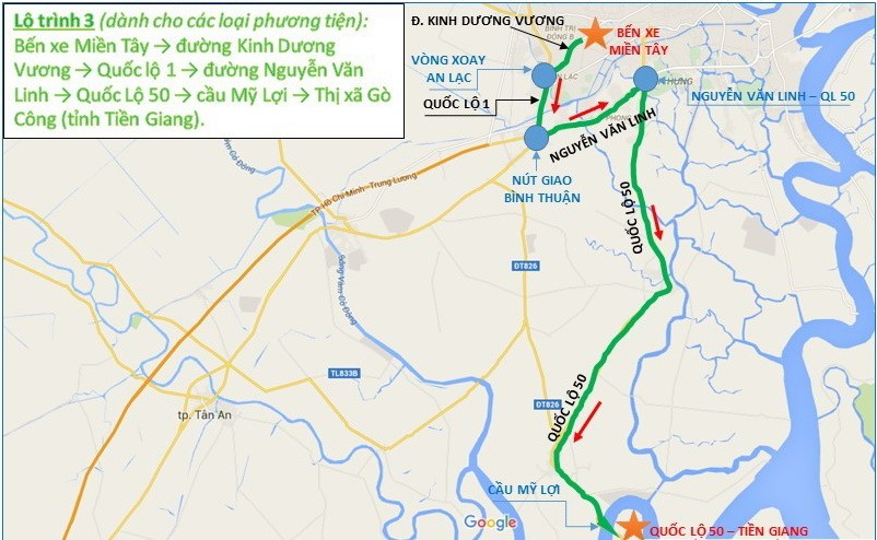Lộ trình 3 từ bến xe miền Tây - đường Kinh Dương Vương - quốc lộ 1 - đường Nguyễn Văn Linh - quốc Lộ 50 - cầu Mỹ Lợi - thị xã Gò Công (Tiền Giang).