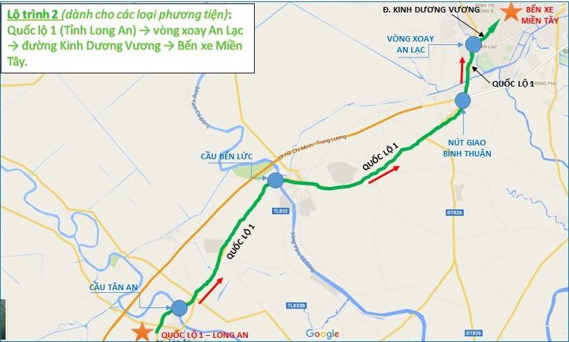 Từ quốc lộ 1 (Long An) - vòng xoay An Lạc - đường Kinh Dương Vương - bến xe miền Tây (TP.HCM).