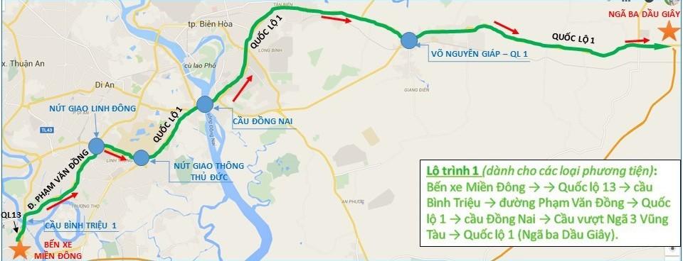 Lộ trình 1 phương tiện lưu thông từ bến xe Miền Đông - quốc lộ 13 - cầu Bình Triệu - đường Phạm Văn Đồng - quốc lộ 1 - cầu Đồng Nai - cầu vượt ngã 3 Vũng Tàu - quốc lộ 1 (ngã ba Dầu Giây, Đồng Nai).