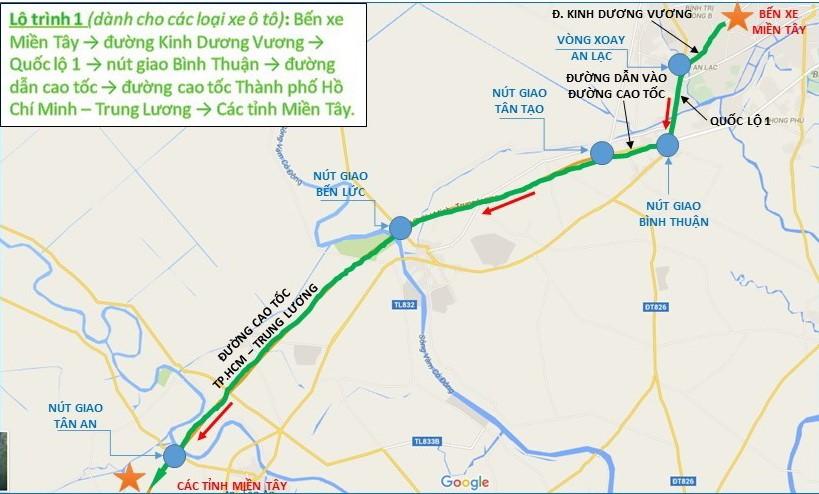 Từ bến xe miền Tây - đường Kinh Dương Vương - quốc lộ 1 - nút giao Bình Thuận - đường dẫn cao tốc - đường cao tốc TP.HCM - Trung Lương - các tỉnh miền Tây