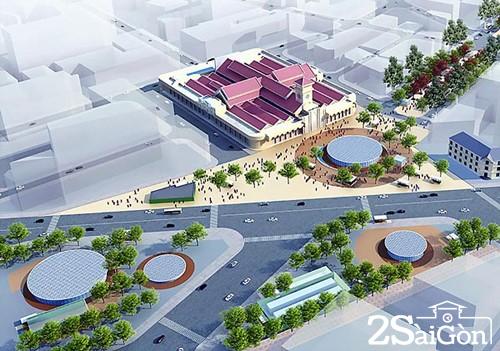 Khu vực chợ Bến Thành sau khi nhà ga trung tâm hoàn thành. Ảnh: BQL Đường sắt đô thị TP HCM.