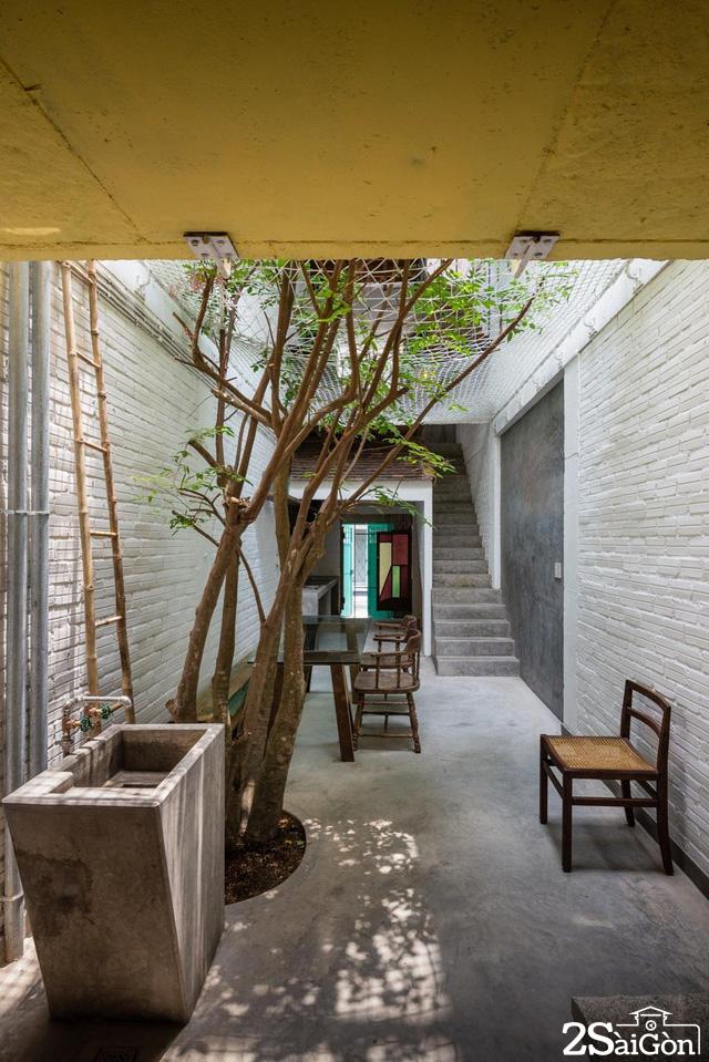 Sân giữa lớn cho phép ánh sáng rọi sâu vào các không gian quanh nhà