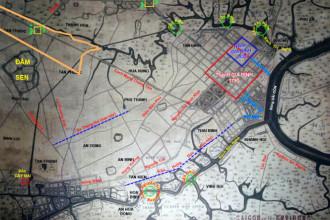 Vị trí đại đồn Chí Hòa trên bản đồ Sài Gòn và vùng phụ cận 1892. Lúc này con rạch tự nhiên tạo nên góc lõm của đại đồn vẫn còn. Bên hông đại đồn là Đầm Sen. Khi tấn công đại đồn, liên quân Pháp - Tây Ban Nha phải đánh vòng qua đây  - Ảnh tư liệu - Đồ họa Trị Thiên