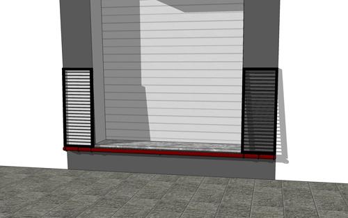 Với các gia đình có nền nhà chênh đường từ 0,5 tới 0,6m, KTS Phạm Thanh Truyền (TPHCM) đưa ra giải sử dụng hai tấm thép treo đối xứng hai bên tường. Hai tấm có thiết kế gọn gàng để không ảnh hưởng nhiều tới thẩm mỹ của nhà. (Bạn có thể dùng tấm gỗ, tấm tôn hoặc các vật liệu phù hợp khác)